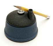 Pencil and sharpener. Vintage pencil sharpener like an architect uses stock photos