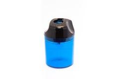 Pencil Sharpener. A blue pencil sharpener on white Stock Photos