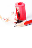 Pencil and sharpener Stock Photos