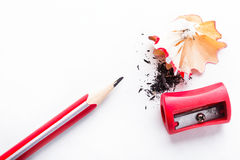 Pencil and sharpener Royalty Free Stock Photo