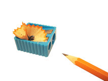 Pencil and sharpener. Isolated pencil and sharpener Royalty Free Stock Photography