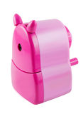Pencil Sharpener. A pink pencil sharpener isolated on white with clipping path stock images