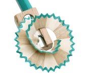 Pencil sharpener. Grinding manual machining mechanical pencil sharpener Stock Photo