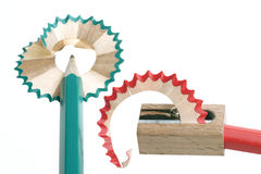 Pencil sharpener. Grinding manual machining mechanical pencil sharpener Royalty Free Stock Photography