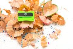 Pencil Sharpener and crayon pencil scrap Stock Photography