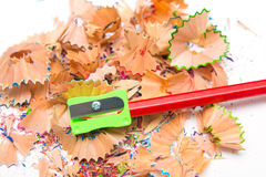Pencil Sharpener and crayon pencil scrap Stock Photo