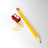 Pencil and sharpener Stock Images