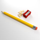 Pencil and sharpener Royalty Free Stock Photography