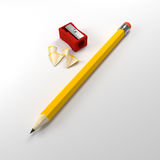 Pencil and sharpener Stock Photo