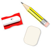Pencil, sharpener and eraser Stock Photography