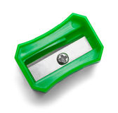Pencil Sharpener Green Top. Green Pencil Sharpener Top View Isolated on White Background stock images