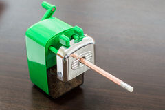 Pencil in Sharpener in office Stock Photo