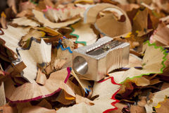 Pencil Sharpener over shavings Stock Photography