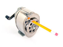 Pencil sharpener with pencil Royalty Free Stock Photos
