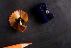 Pencil sharpener and pencil close up Stock Photo
