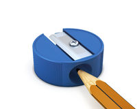 Pencil sharpener with pencil isolated Royalty Free Stock Images