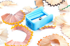 A pencil sharpener and pencil shavings Stock Photography