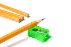 Pencil with sharpener shavings Stock Image