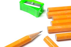 Pencil with sharpener shavings Royalty Free Stock Photo