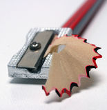 Pencil Sharpener and Shavings 3. Isolated Pencil Sharpener and Shavings stock images
