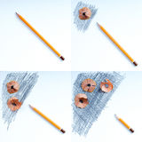 Pencil sharpener shavings on the white paper. Back to school. Copy space Stock Photos