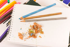 Pencil and sharpener Royalty Free Stock Images