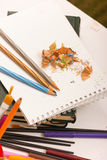 Pencil and sharpener Stock Photography