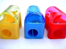 Pencil Sharpeners. Coloured pencil sharpeners Royalty Free Stock Image