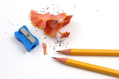 Pencil sharpening pair Royalty Free Stock Photo