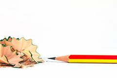 Pencil with sharpening shavings Royalty Free Stock Images