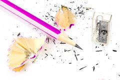 Pencil with sharpening shavings Stock Images