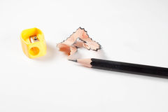 Pencil with sharpening shavings. Pencil Eraser and pencil sharpener Royalty Free Stock Image