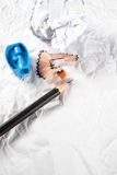 Pencil with sharpening shavings. Pencil Eraser and pencil sharpener Stock Image