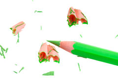 Pencil with sharpening shavings Stock Photo