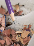 Pencil with sharpening shavings Royalty Free Stock Image