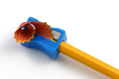Pencil sharpening single closeup Royalty Free Stock Images