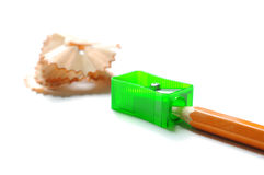 Pencil with sharpenr shavings Stock Images