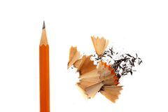 Pencil and shavings Royalty Free Stock Image