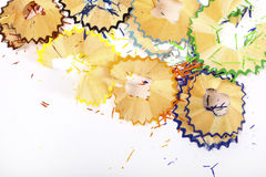 Pencil shavings. Colorful pencil shavings isolated in white background Royalty Free Stock Photo