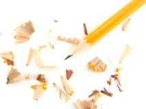 Pencil with shavings Royalty Free Stock Photos