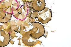 Pencil shavings. Isolated on white Royalty Free Stock Photography