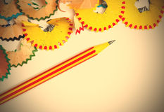 Pencil and shavings with copy space Stock Image