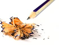 Pencil and shavings Stock Photo