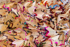 Pencil Shavings. A macro shot of coloured pencil shavings stock images