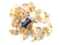 Pencil shavings and sharpen Stock Images