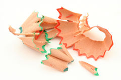 Pencil shavings  on white Royalty Free Stock Image