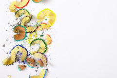 Pencil shavings on white. Background with copy space stock images