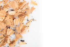 Pencil shavings on white background Royalty Free Stock Photo