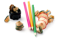Pencil shavings on white close up Stock Photography