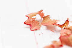 Pencil shavings on white paper. close Stock Photography